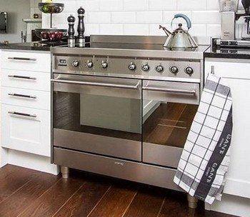 Een 90 cm. breed fornuis met 5 inductie kookzones en dubbele oven heeft een hoge aansluitwaarde