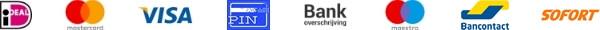 Betaalopties zoals pin, contant, creditcard, iDeal, Bancontact etc