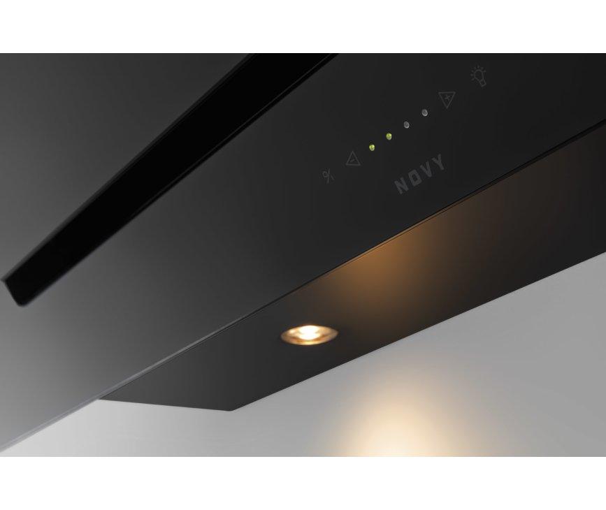 Novy 7853 wand afzuigkap schuin - Vision - zwart glas