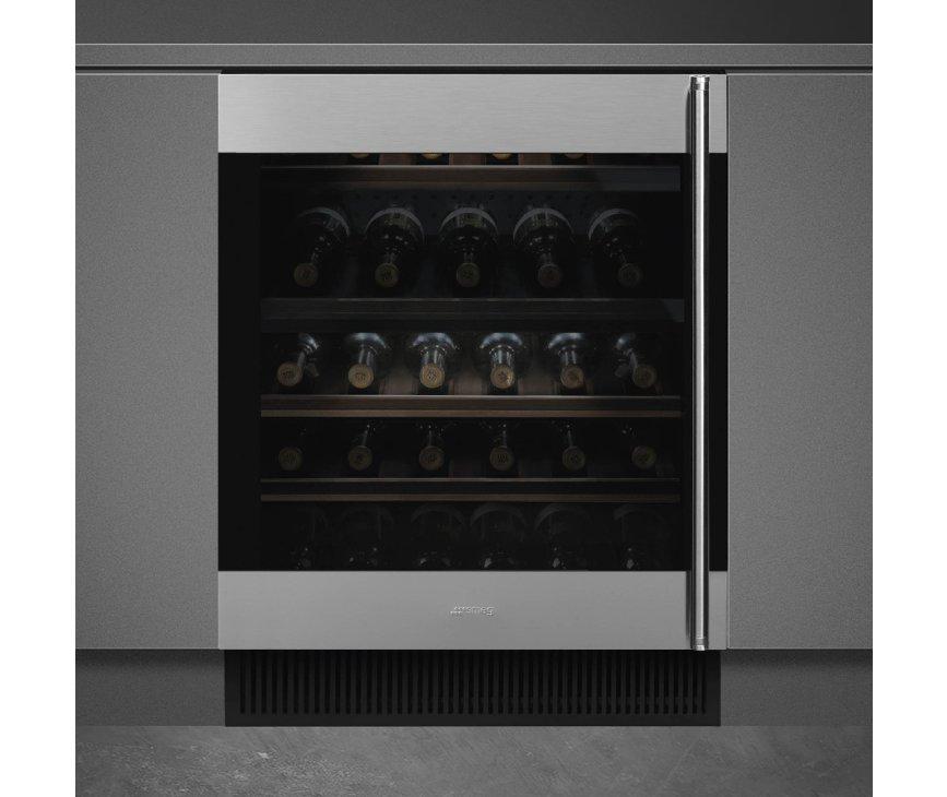 Smeg CVI338LX3 onderbouw wijnkoelkast - linksdraaiend - rvs