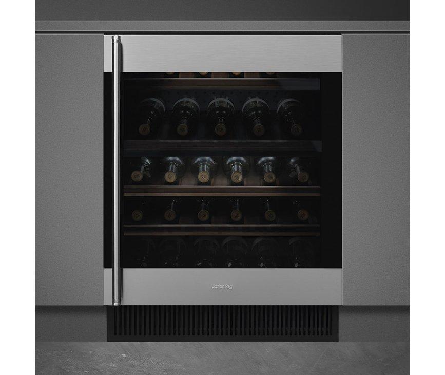 Smeg CVI338RX3 onderbouw wijnkoelkast - rechtsdraaiend - rvs