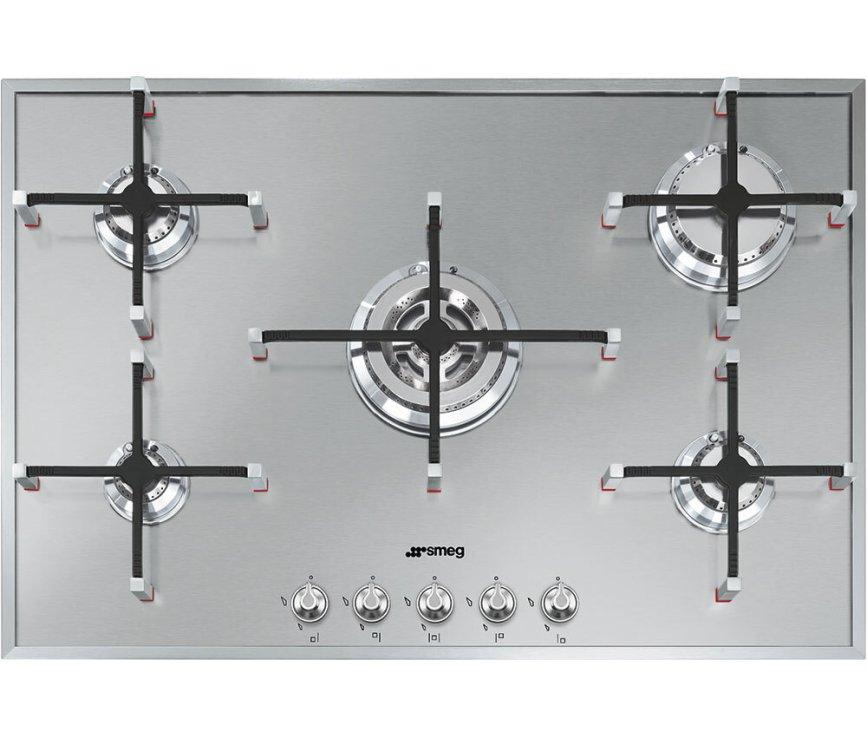 Smeg PX7502NLK inbouw gas kookplaat - 74 cm. breed - rvs