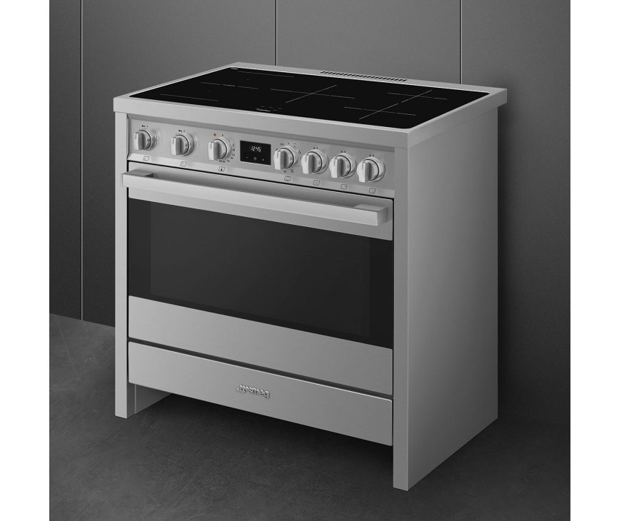 Smeg B95IMX9 inductie fornuis - roestvrijstaal