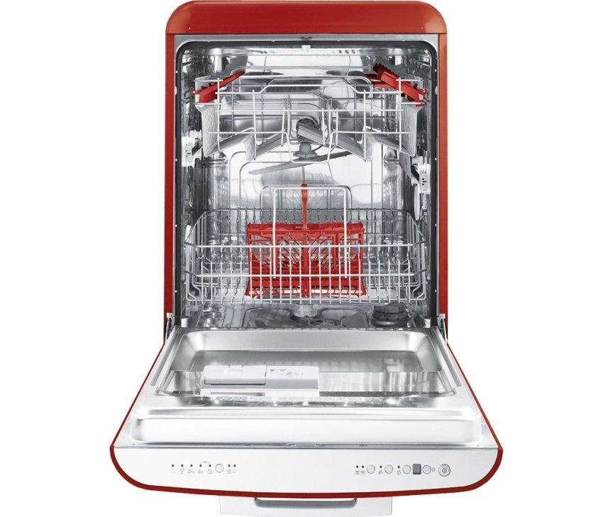 De binnnenzijde van de Smeg BLV2R2 met de opvallende rode items