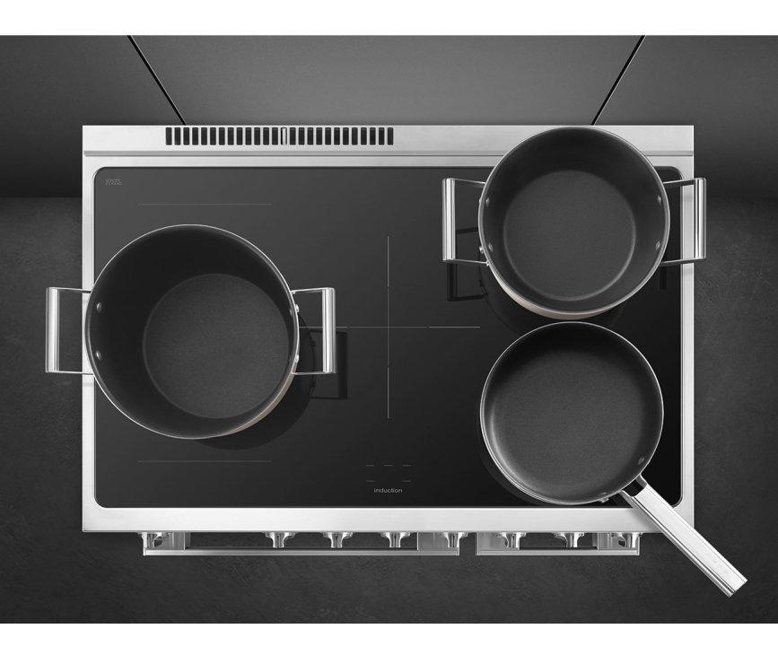 Smeg CPF92IMBL inductie fornuis - zwart - dubbele oven - Portofino