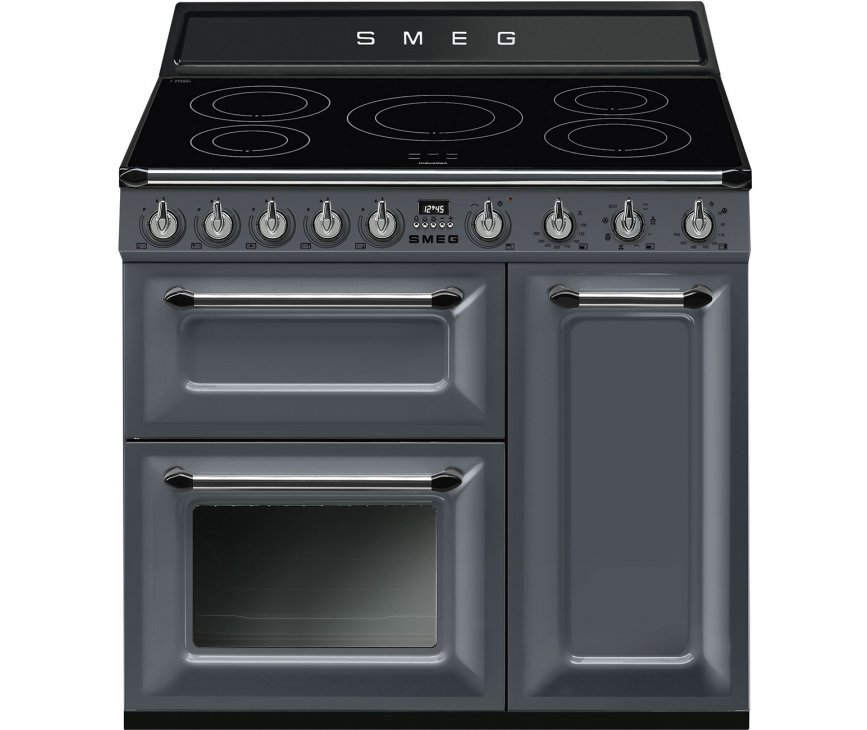 Smeg TR93IGR inductie fornuis - lei grijs - 90 cm. breed - 3 ovens