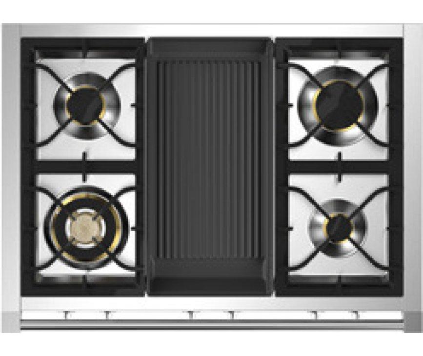De Steel A9F-4B heeft een gas kookvlak met 4 branders en een barbecue / grill top in het midden