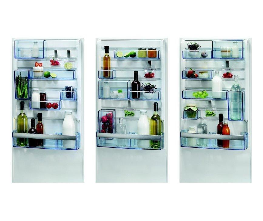 De indeling van de deurvakken van de Aeg S53630CSXF koelkast rvs is eenvoudig zelf te bepalen