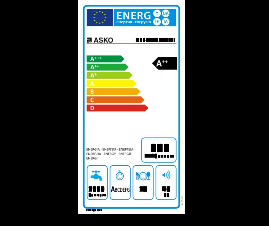 Energielabel Asko D5544 Fi XXL inbouw vaatwasser - hoog model