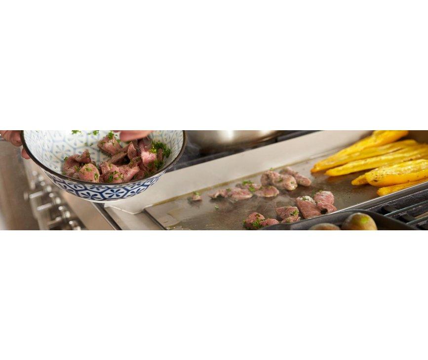 Met de teppanyaki bakplaat kunt u perfect uw vlees, vis, groente e.d. bereiden