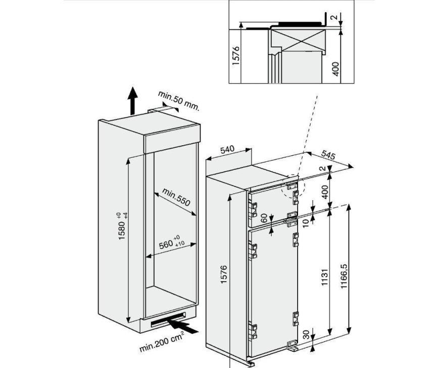 Maattekening Bauknecht KDI2804/A+ inbouw koelkast