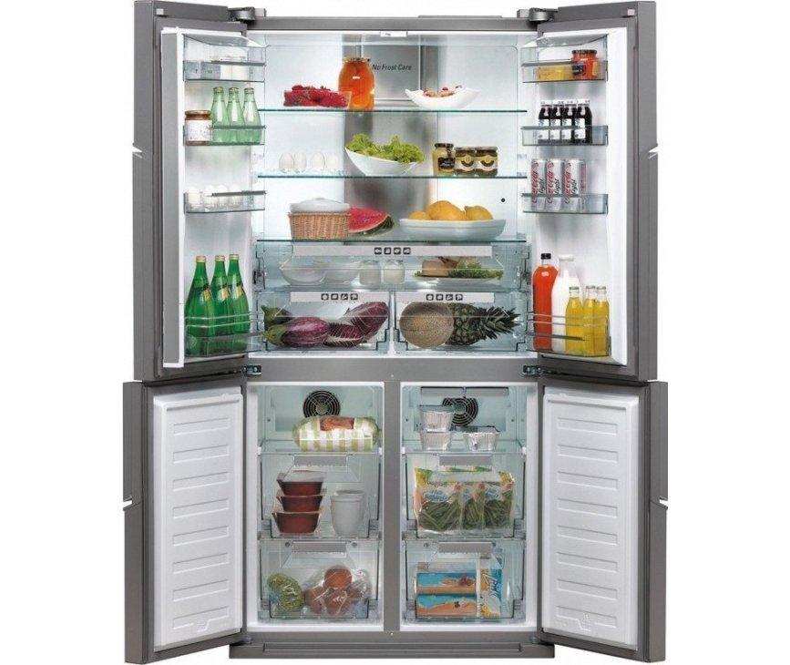 Foto van de Bauknecht KSN4T/A+ IN uitgevoerd met een flexibel interieur. Zo is het vak rechtsonder als koelkast maar ook als vriezer te gebruiken.