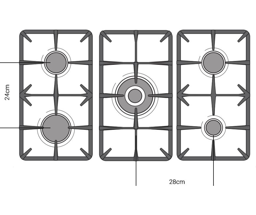 De afstand tussen de branders op het kookgedeelte van de Boretti CFBG902AN/2