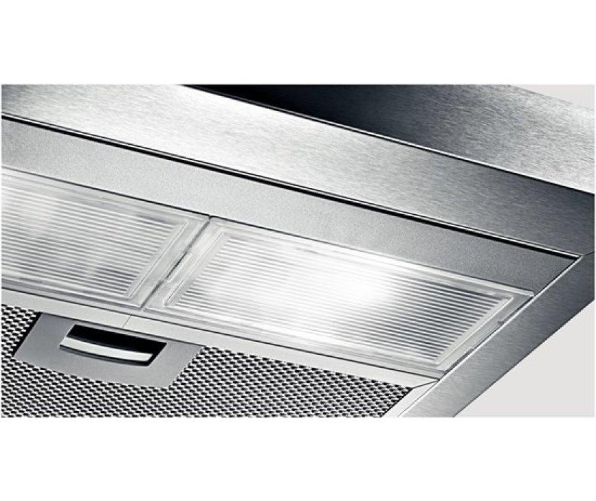De Bosch DHU635PEU onderbouw afzuigkap RVS is voorzien van heldere halogeenverlichting