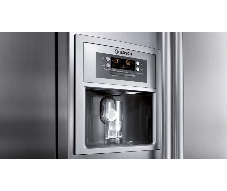 De Bosch KAN58A75 koelkast roestvrijstaal is uitgerust met een ijsblokjesdispencer