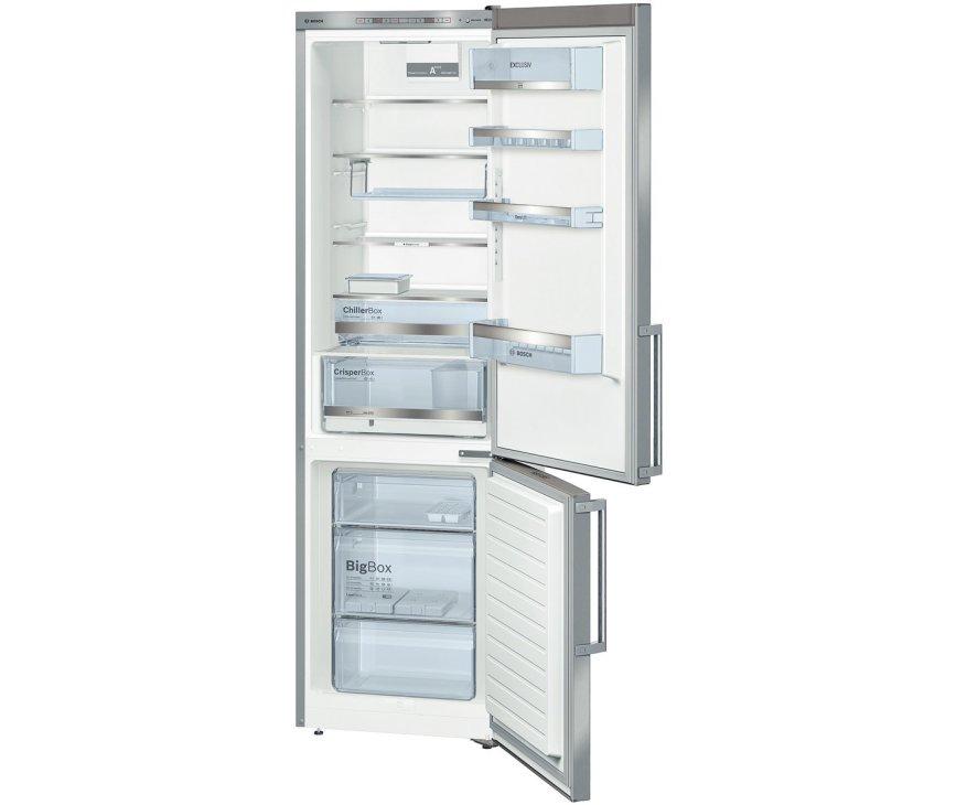 Het luxe interieur van de Bosch KGE39EI43 koelkast roestvrijstaal met ChillerBozen en VarioFreezing