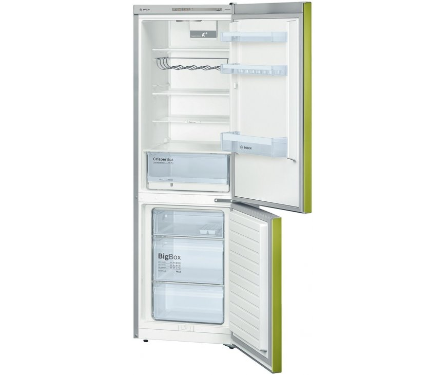 Het interieur van de Bosch KGV36VH32S koelkast groen