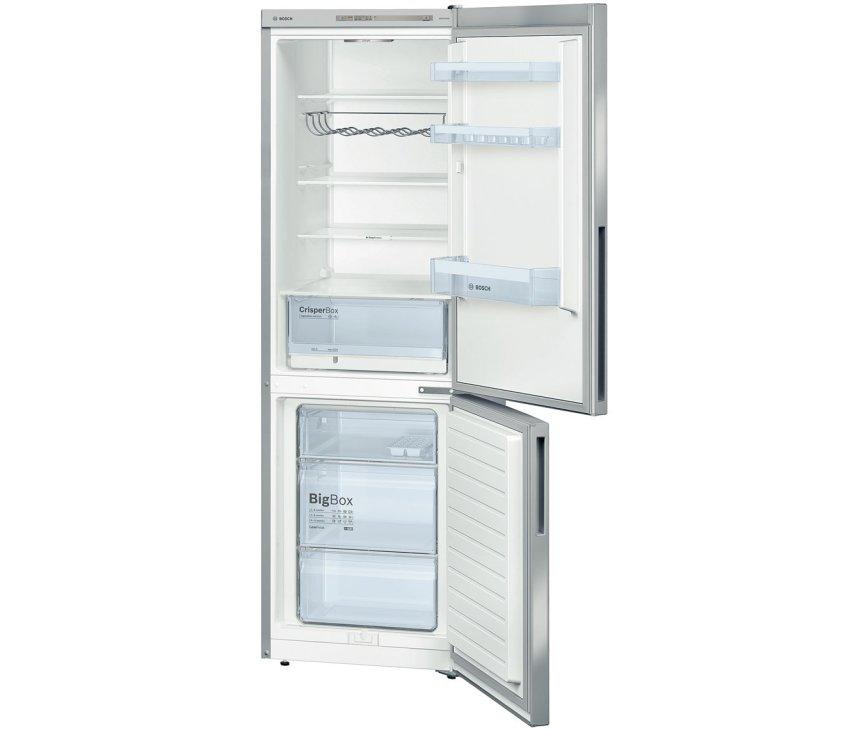 De binnenzijde van de Bosch KGV36VI32 koelkast RVS heeft een inhoud van 309 liter