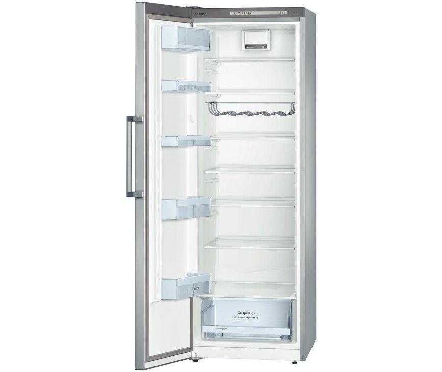 De binnenzijde van de 176 cm. hoge Bosch KSV33VL30 koelkast RVS-look
