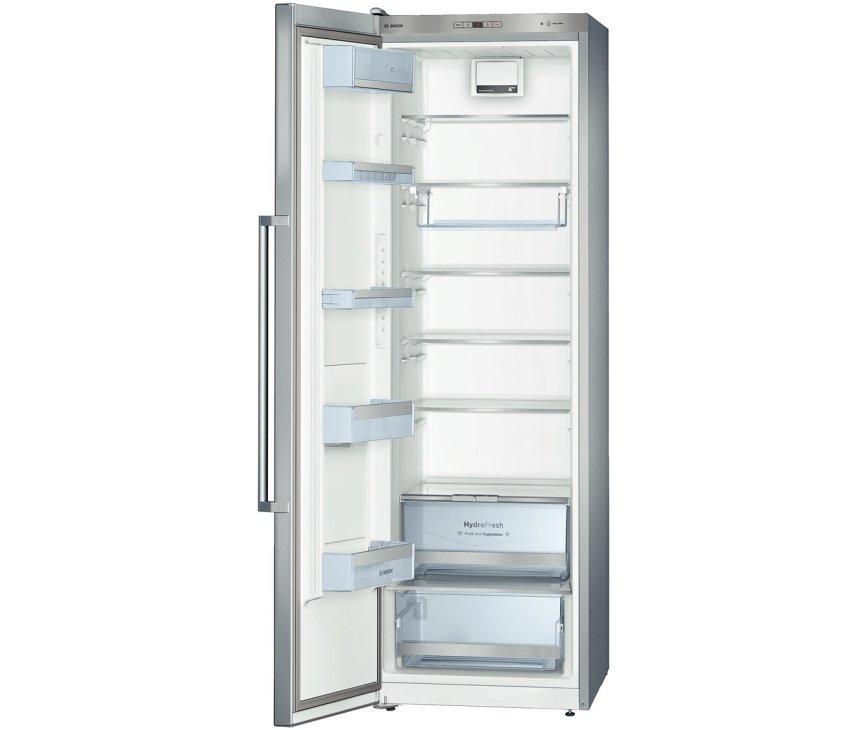 De binnenzijde van de Bosch KSW36PI30 koelkast rvs
