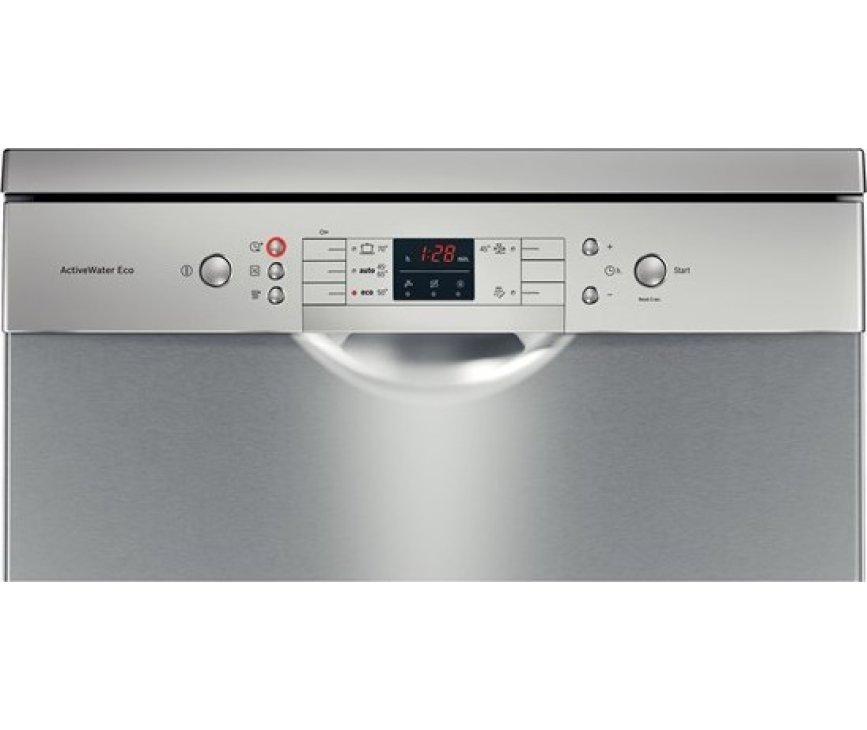De Bosch SMS58N98EU vaatwasser met besteklade is voorzien van een digitaal bedieningspaneel