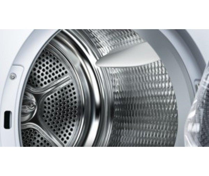 De Bosch WTY88783NL droger warmtepomp is uitgerust met een grote rvs Sensitivetrommel