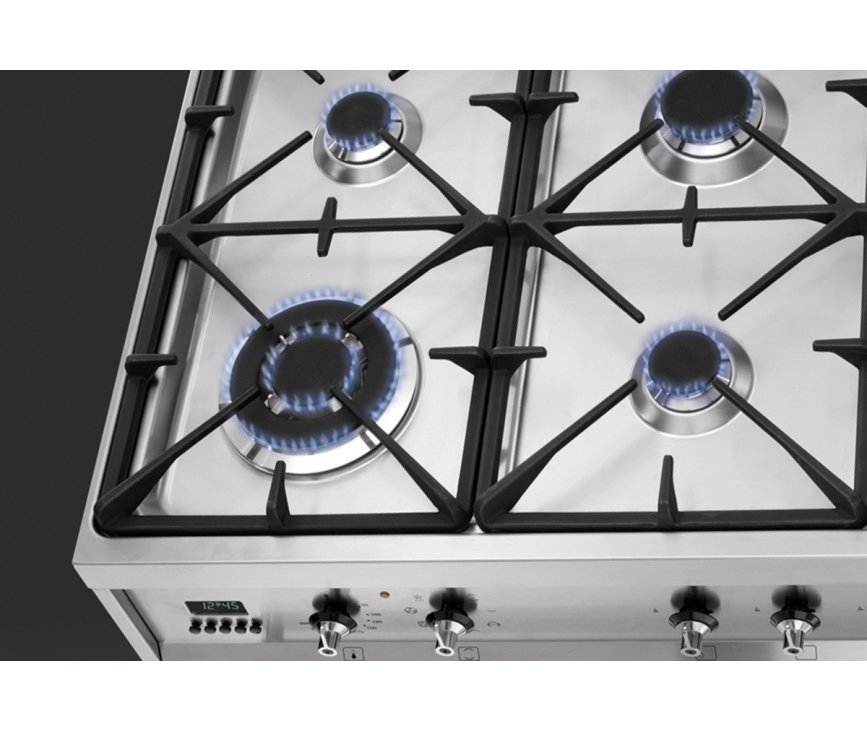 De Smeg C9GMXNL1 heeft een 4,0 kW sterke wokbrander linksvoor