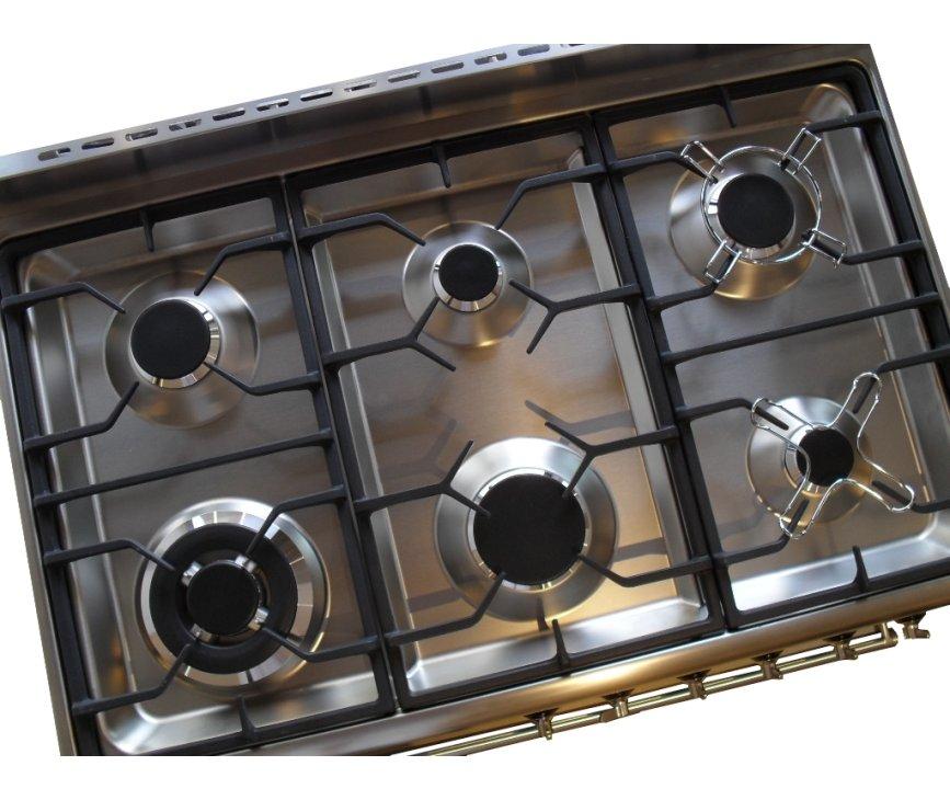 De DS96MFX7 is een 6-pits fornuis met wokbrander / superbrander linksvoor