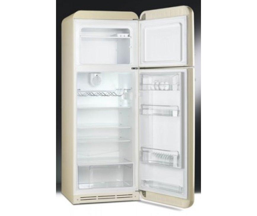 Deze FAB30 koelkast uitgevoerd in de kleur pastelblauw heeft een geheel nieuwe interieur met luxe leggers en degelijke transparante deurbakken.
