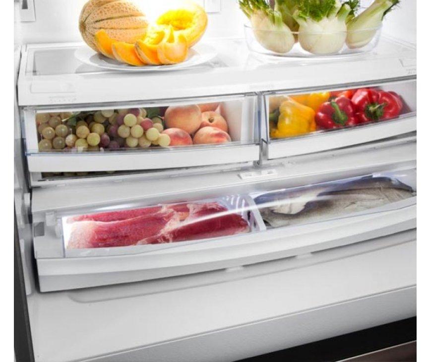 Meerdere opberglades met vochtregeling voor het langdurig bewaren van groente en fruit