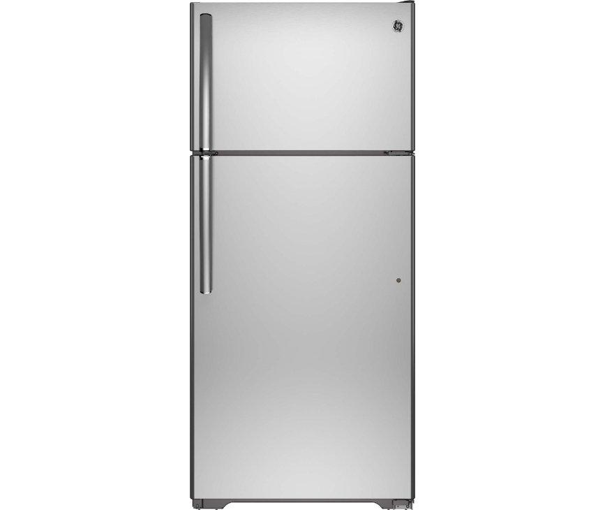 De Genaral Electrics GTEB0GAFRSS Amerikaanse koelkast is voorzien van rvs deuren en rvs handgrepen
