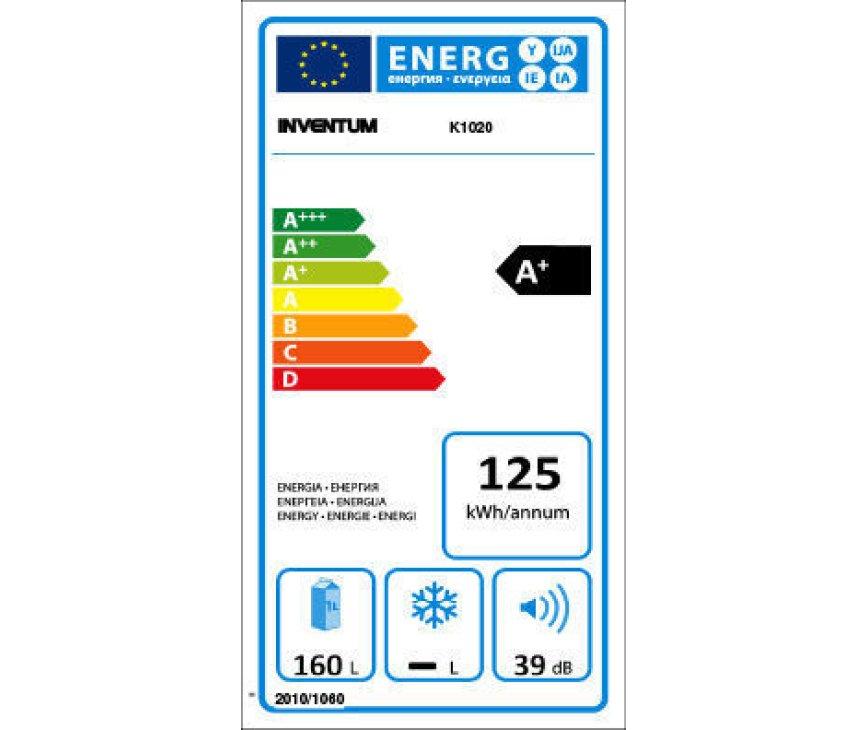 De Inventum K1020 is uitgevoerd met een energieklasse A+ label.