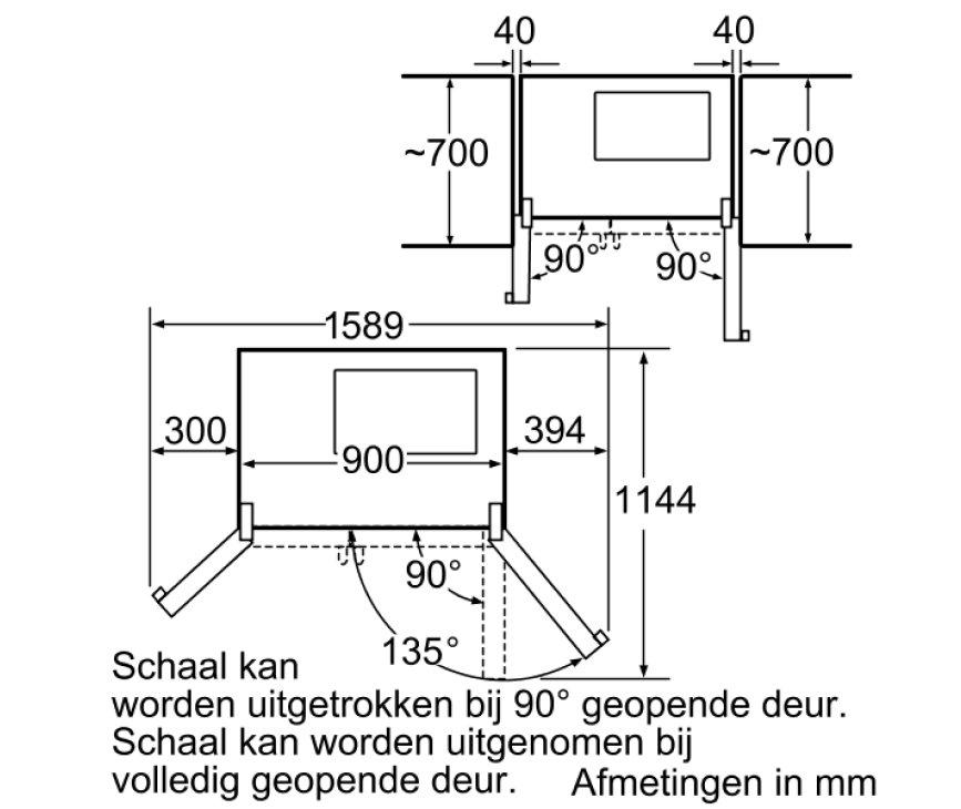 Hoeken en uitslag van de deuren van de KA58NA75