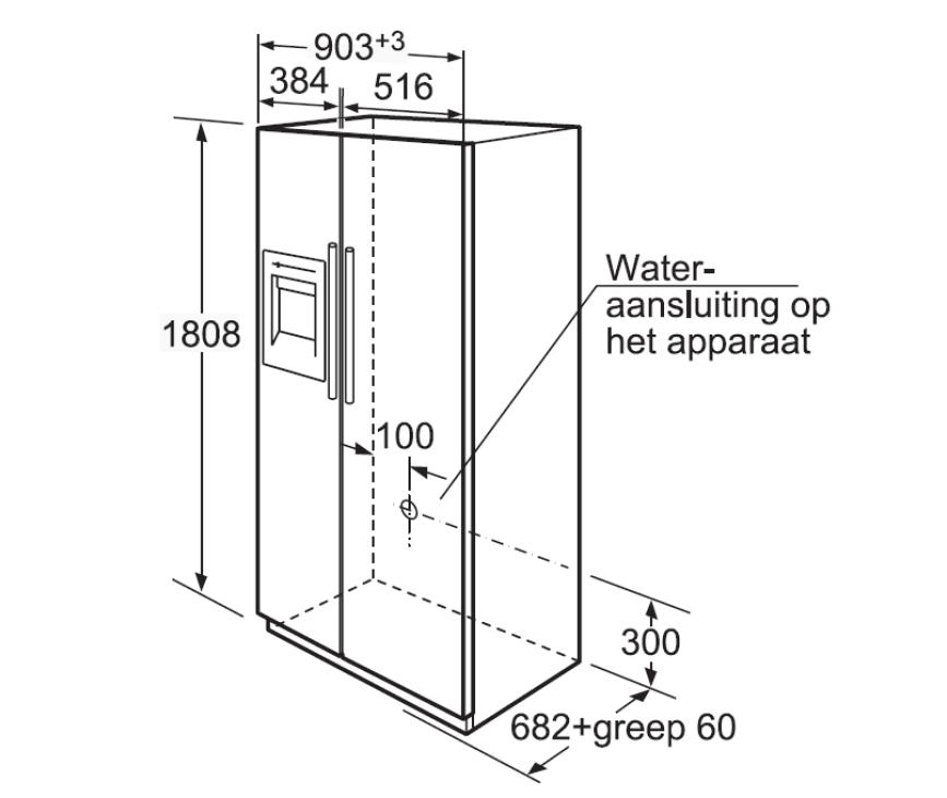 Maattekening SIEMENS amerikaanse koelkast type KA58NP95