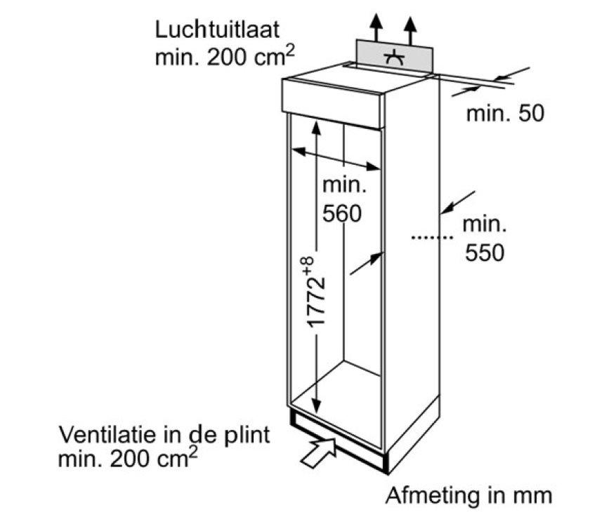 De Bosch KIV34A51 heeft een nishoogte van 178 cm. waarbij de keukenkast moet voldoen aan deze afmetingen