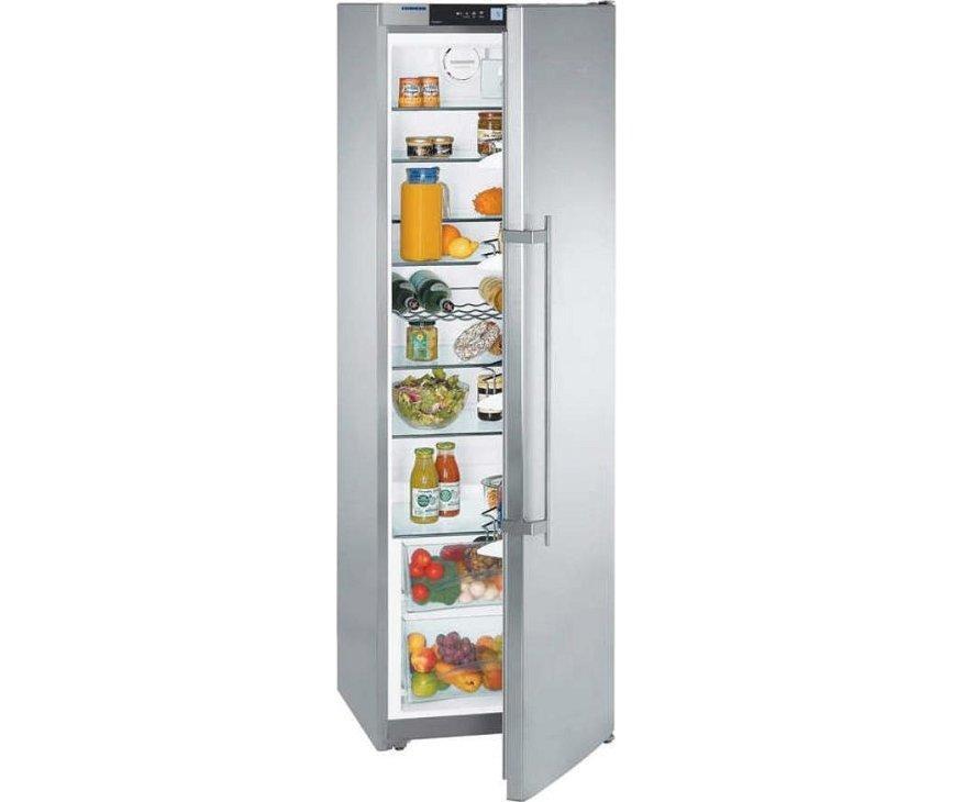 185 cm. hoge koelkast van LIEBHERR met een inhoud van 390 liter