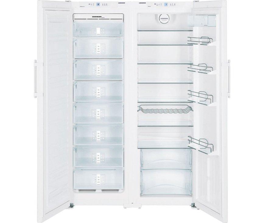 De Liebherr SBS7252 side-by-side koelkast heeft een totale netto inhoud van 652 liter