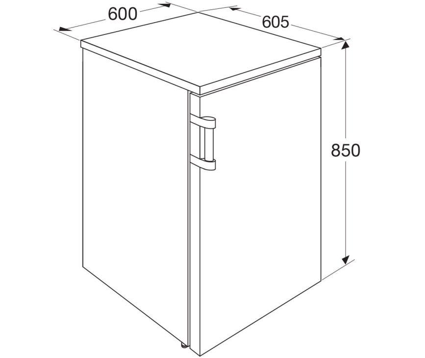 Maattekening Etna EKK0860WIT tafelmodel koelkast