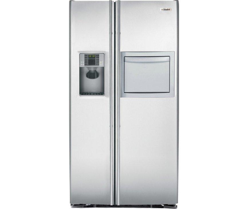 De Mabe MEM30VHD SS amerikaanse koelkast is tegen meerprijs uit te voeren met lange roestvrijstalen stanggrepen