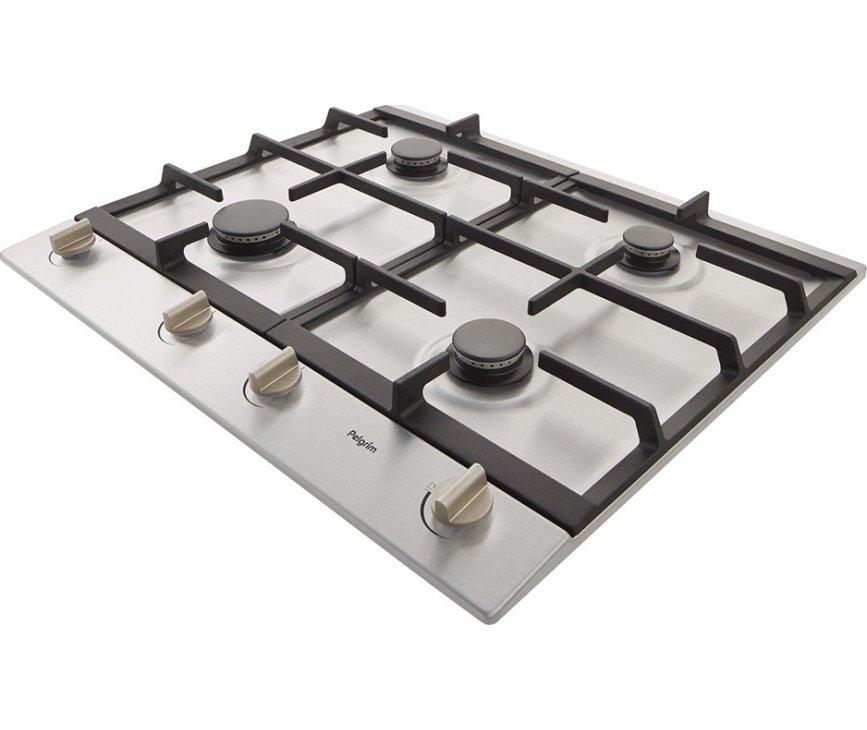De Pelgrim GK964RVSA inbouw gas kookplaat is voorzien van gietijzeren pandragers