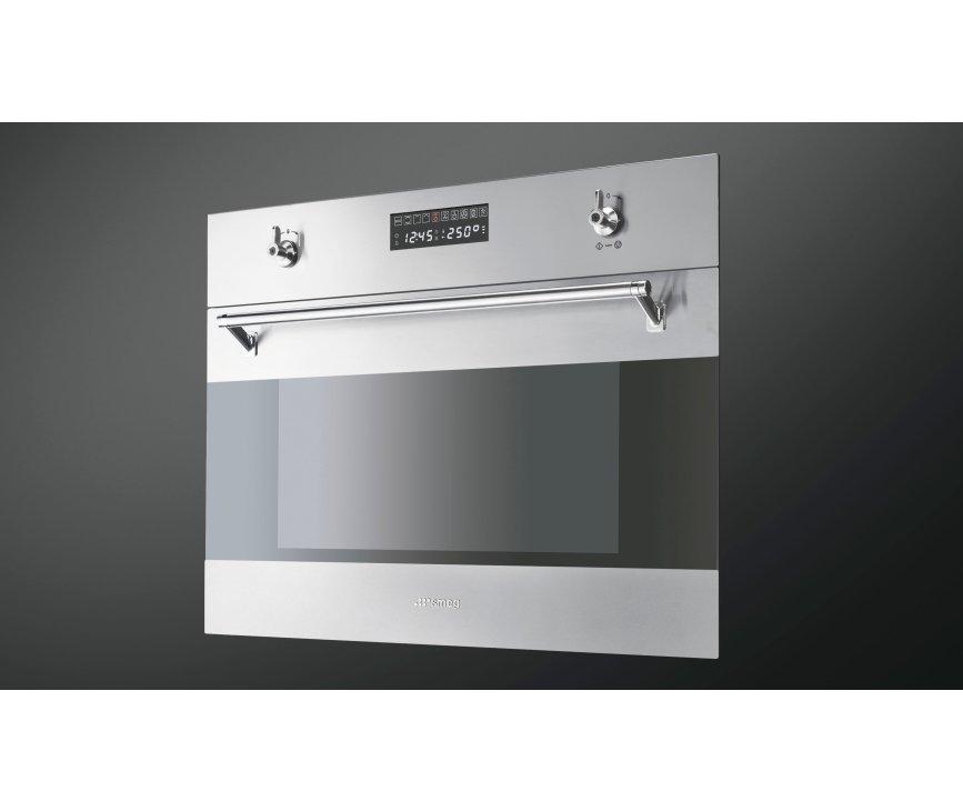 De Smeg S45MFX2 is een multifunctionele oven met een digitaal LCD display