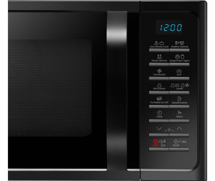 De bedieningspaneel van de Samsung MC28H5015AK is voorzien van drukknoppen