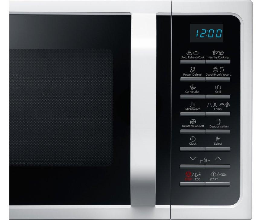 De bedieningspaneel van de Samsung MC28H5015AW is voorzien van drukknoppen