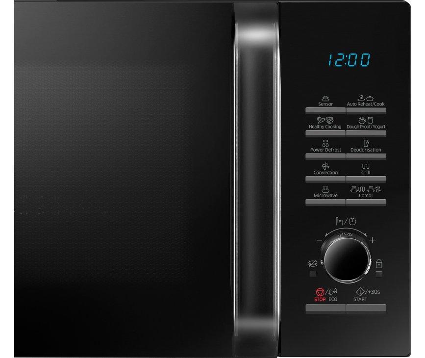 Het bedieningspaneel van de Samsung MC28H5125AK is voorzien van drukknoppen en een draaiknop