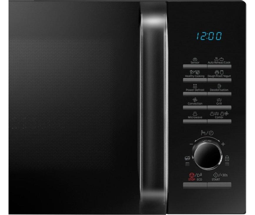 De bedieningspaneel van de Samsung MC28H5125CW is voorzien van drukknoppen en een draaiknop
