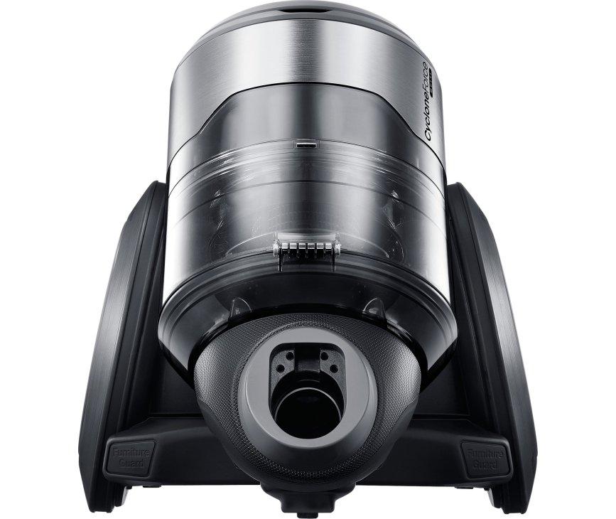De Samsung VC20F70HUCC stofzuiger is door zn twee grote wielen extra wendbaar