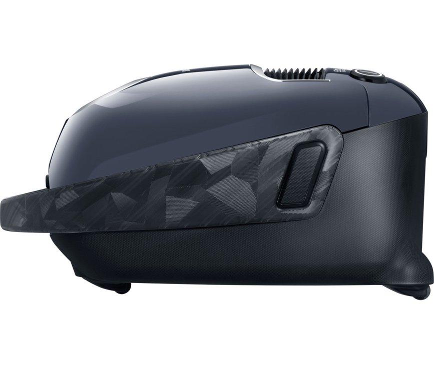 De Samsung VC21F60YKGC stofzuiger heeft een mooi design aan de zijkant