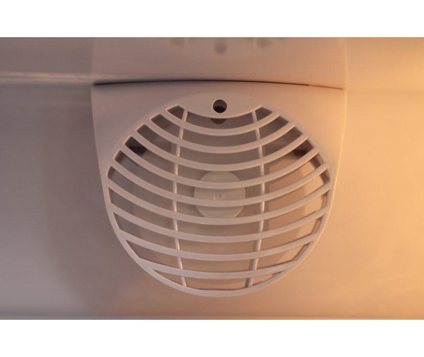 De ventilator zorgt voor een gelijkmatige verdeling van de temperatuur