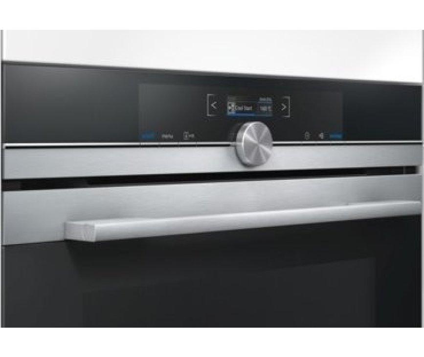 Het bedieningspaneel van de Siemens CB675GBS1 inbouw oven