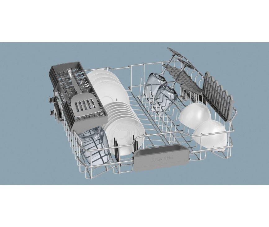De bovenkorf van de Siemens SN28M250EU vaatwasser is in hoogte verstelbaar